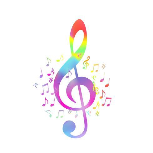 G-clef colorido com notas de música vector design ilustração