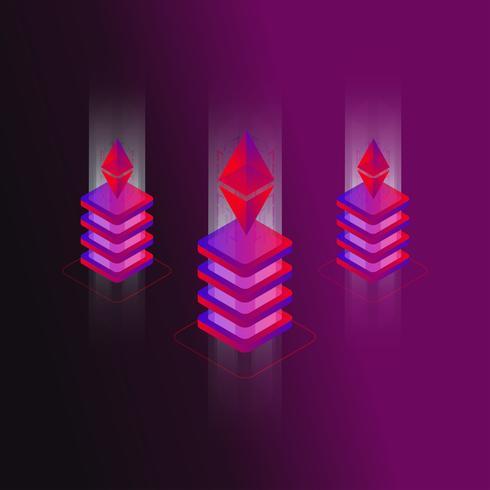 Konzept-Vektorillustration des Ethereum 3d isometrische vektor