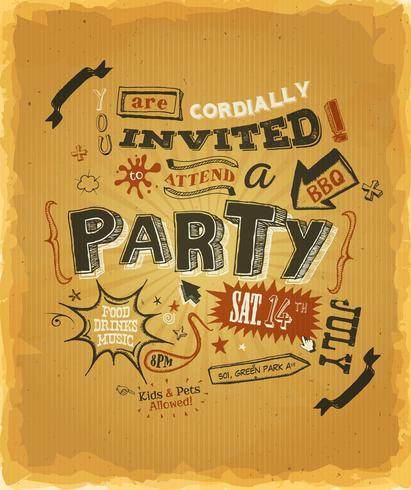 Uitnodiging feestaffiche op kraftpapier