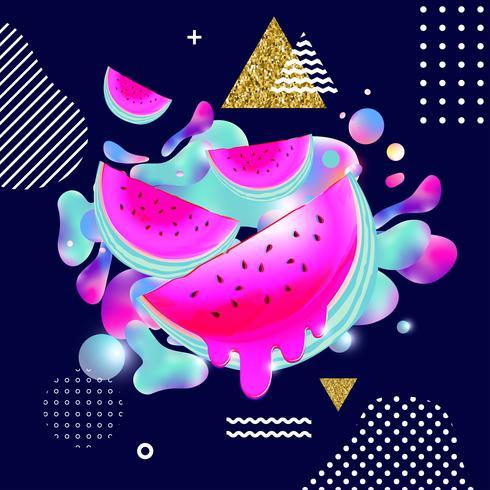 Fond multicolore fluide avec illustration vectorielle de melon d'eau