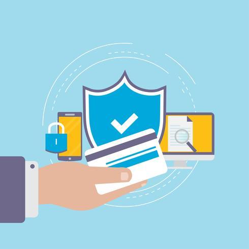 Progettazione piana sicura dell'illustrazione di vettore di pagamento online