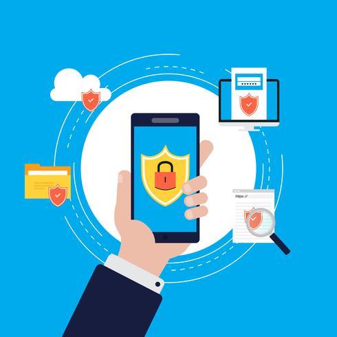 Data security flat vector illustration design