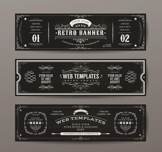 Vintage Web Banners Templates Set