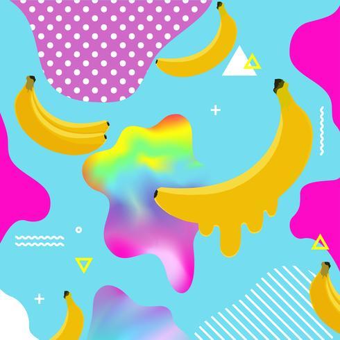 Fondo multicolore fluido con l'illustrazione di vettore delle banane