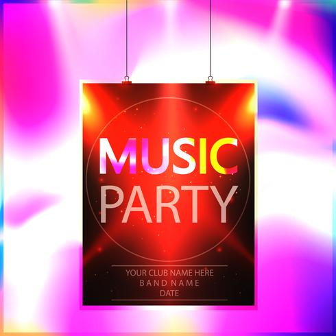 Music party poster, party flyer template vector