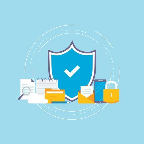 Diseño de ilustración de vector plano de seguridad de datos
