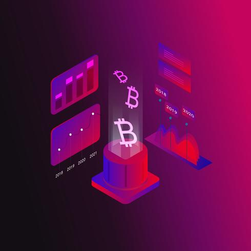 Bitcoin isometric concept vector illustration