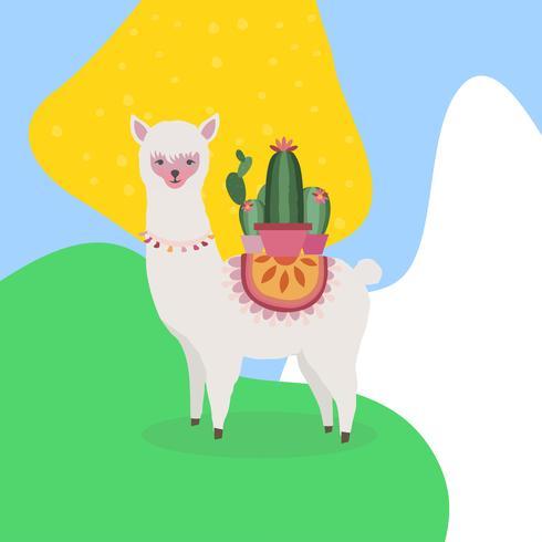 Lama of alpaca met cactus kleurrijke vectorillustratie als achtergrond