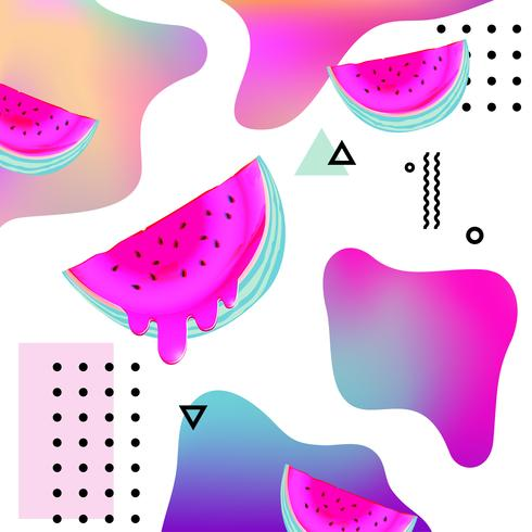 Fundo Colorido Fluido Com Ilustracao Vetorial De Melancia