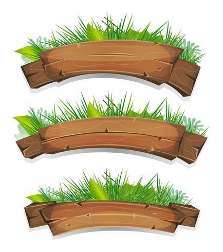 Bandiere di legno comico con foglie di piante