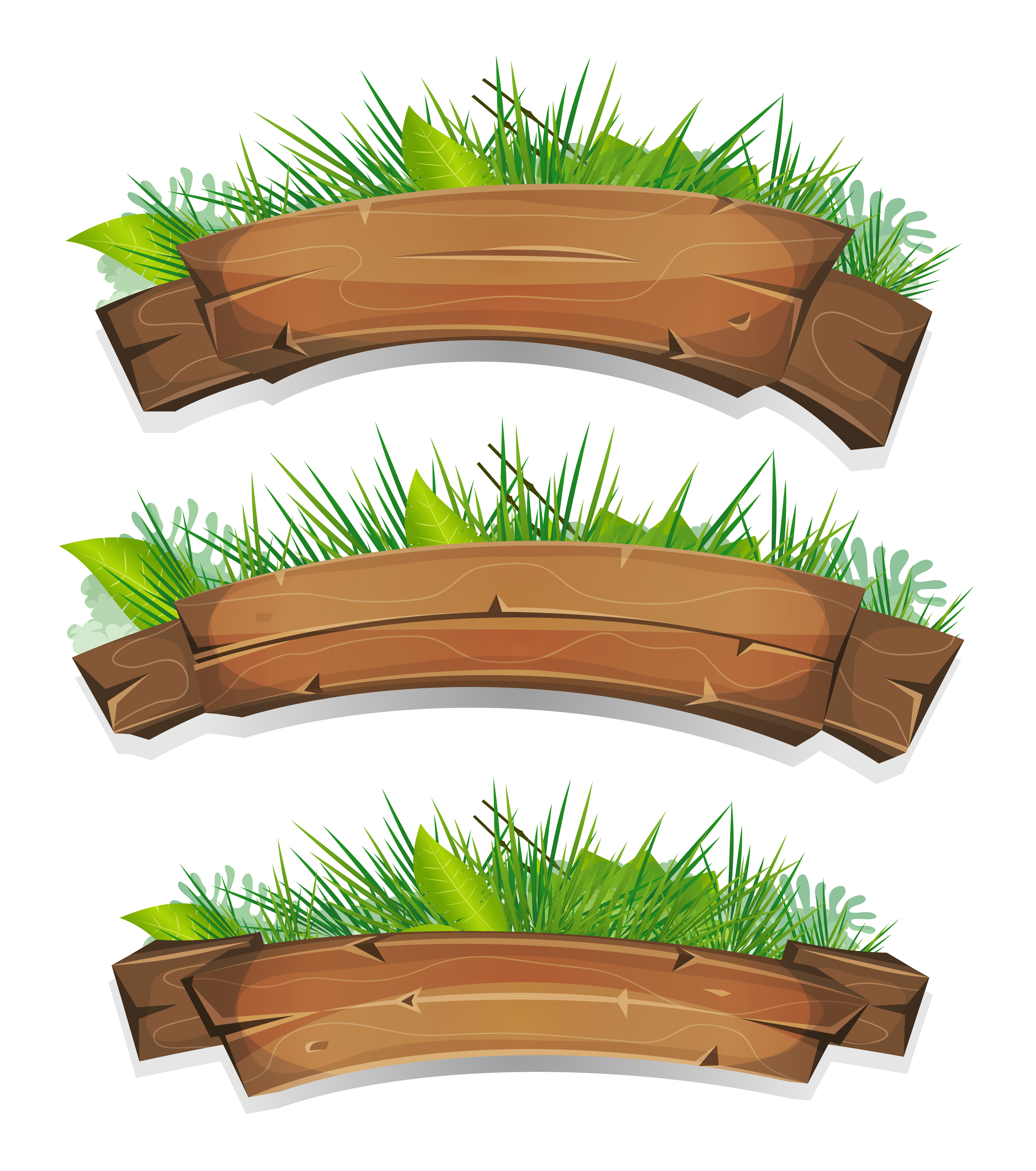 Comic Wood Banners With Plants Leaves - Download Free ...