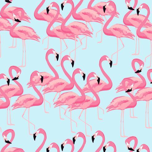 Fondo inconsútil del modelo del pájaro tropical del flamenco