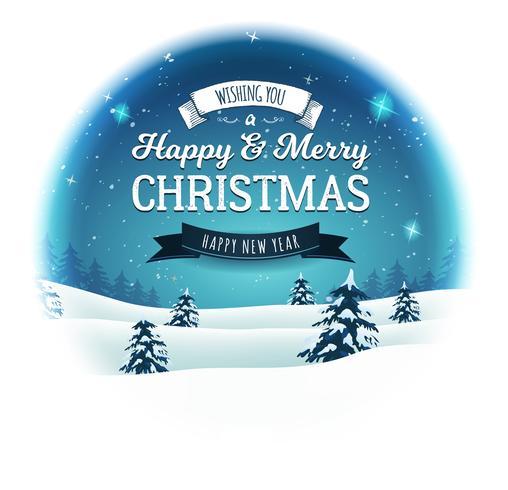 vintage kerstlandschap sneeuwbal vector