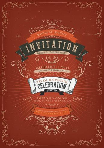 Fond d'affiche Invitation Vintage vecteur