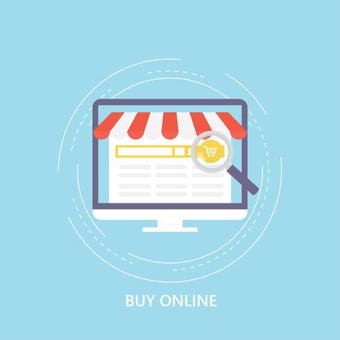 Online winkelend, elektronische handel, winkel online, ontwerp van de de opslag het vlakke vectorillustratie van Internet
