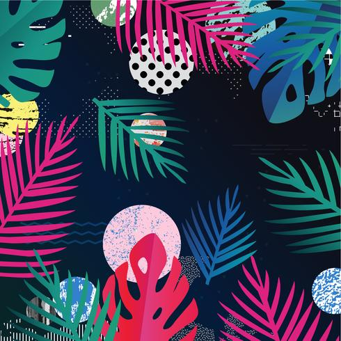 Tropical jungle leaves background. Colorful tropical poster design