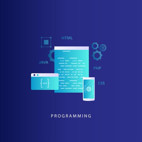 Coding, programming, website and application development vector illustration
