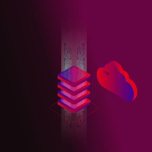 Illustration vectorielle de stockage de données numériques isométrique concept 3d