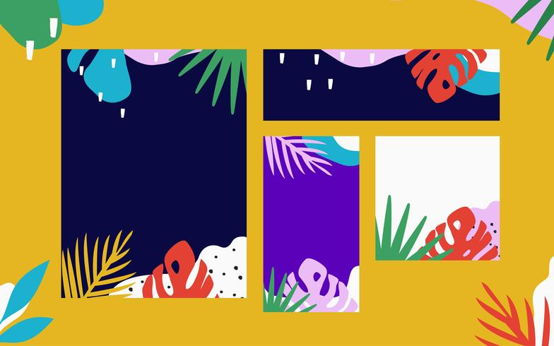Tropical jungle leaves cards background