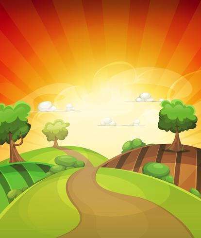 Tecknad land bakgrund i vår eller sommar solnedgång