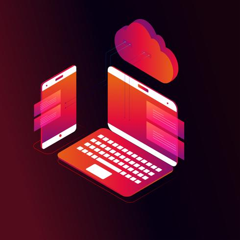 Cloud computing isometric 3d concept vector illustration