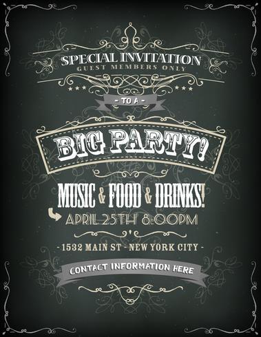 retro party invitation on chalkboard download free vector art