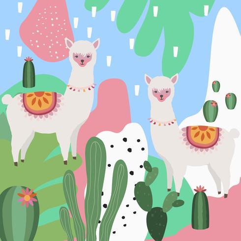 Lama ou alpaca com ilustração em vetor fundo colorido cacto