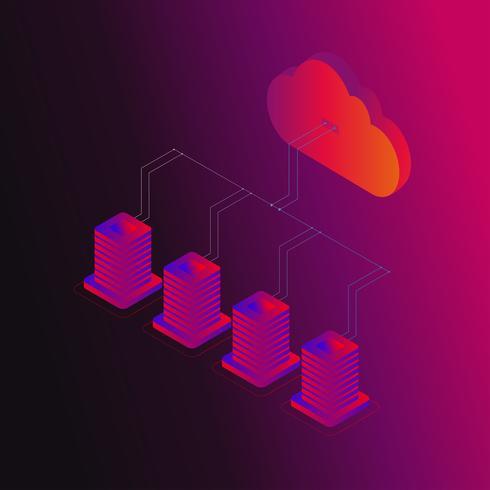 Ilustração em vetor conceito 3d isométrica de armazenamento de dados Digital