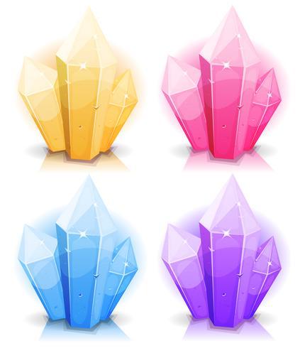 Cartoon edelstenen en diamanten Icons Set