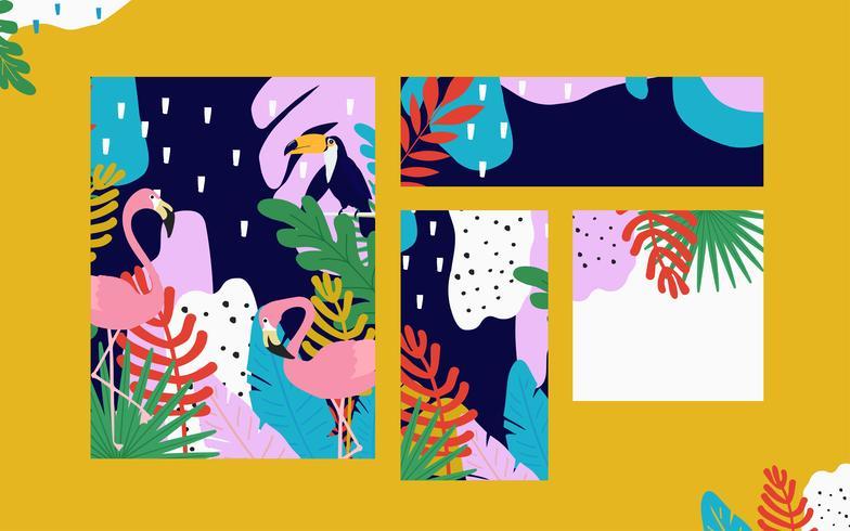 Tropischer Dschungel verlässt Kartenhintergrund mit Flamingos und Tukan