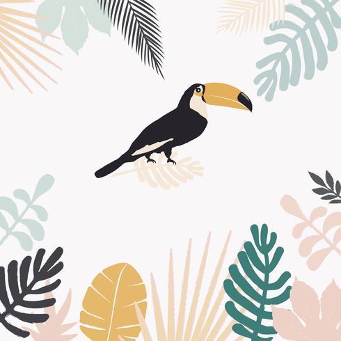 Tropischer Dschungel verlässt Hintergrund mit Tukan