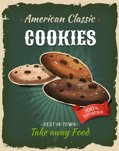 Cartel retro de las galletas de los alimentos de preparación rápida