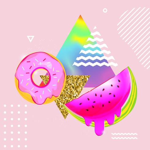 Fluid multicolored background with watermelon and donut vector illustration