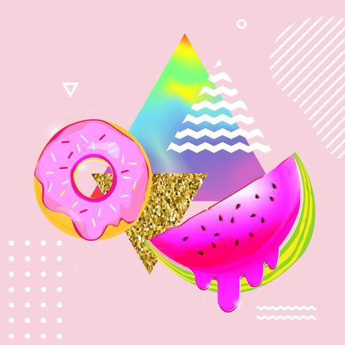 Vloeiende veelkleurige achtergrond met watermeloen en donut vectorillustratie