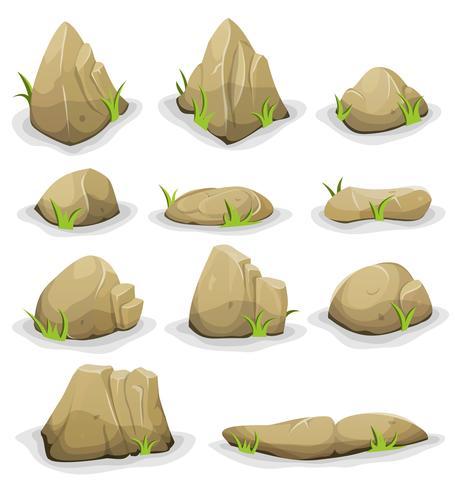 Rotsen en keien met geplaatste grasbladeren vector