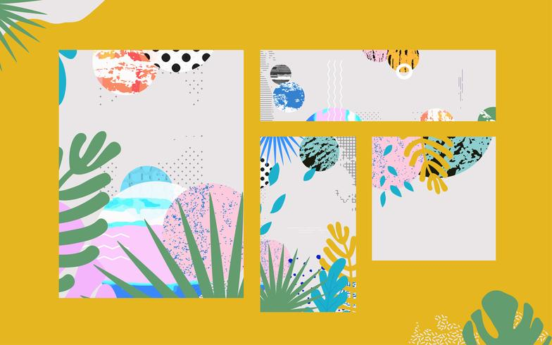 La selva tropical deja el fondo de las tarjetas. Diseño colorido cartel tropical