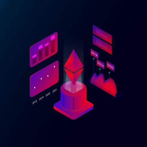 Ethereum 3d illustration vectorielle concept isométrique
