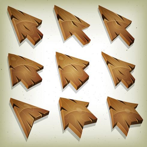 Iconos de madera de dibujos animados, cursor y flechas