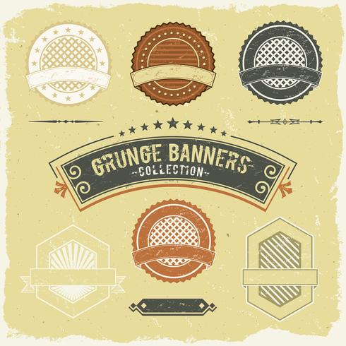 Vintage Grunge Banner And Labels Collection