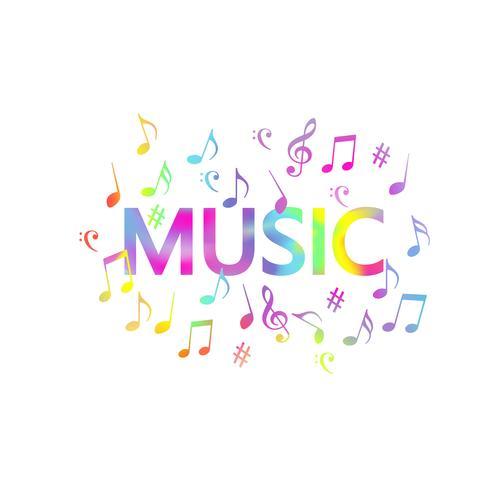 Progettazione variopinta dell'illustrazione di vettore dell'insegna delle note di musica