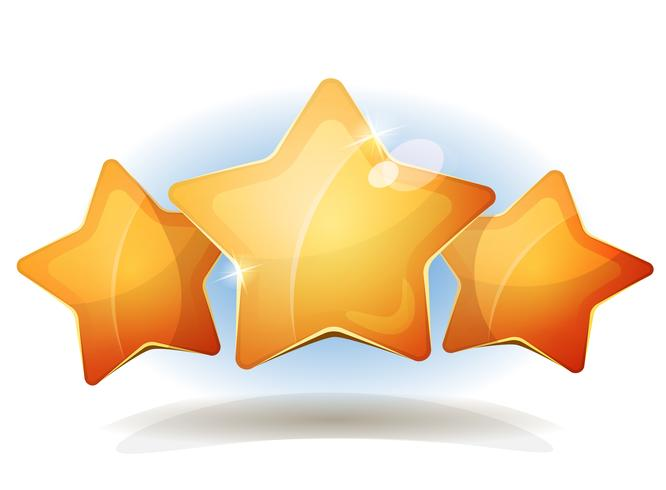 Divertidos iconos de tres estrellas para la puntuación del juego Ui