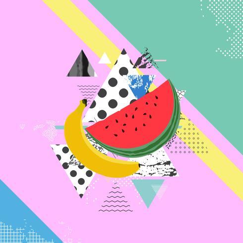 Trendig färgstark bakgrund med vattenmelon och banan