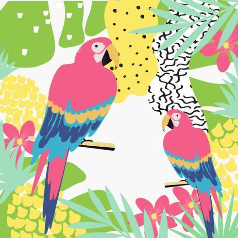 A selva tropical deixa o fundo com os papagaios. Projeto de ilustração vetorial de verão