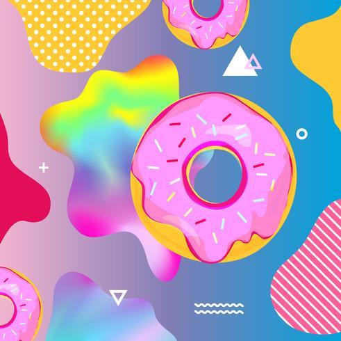 Fundo colorido fluido com ilustração vetorial de donuts