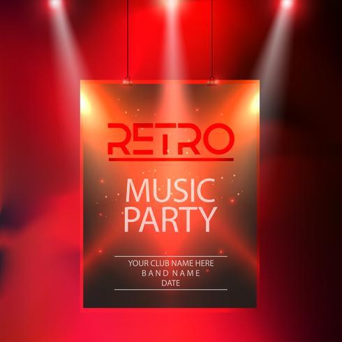 Musikparteiplakat, Partyfliegerschablonen-Vektorillustration