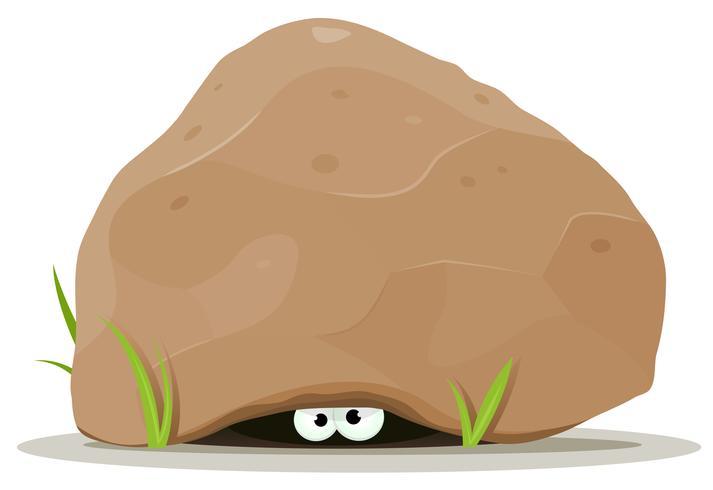Karikatur-Tieraugen unter großem Stein