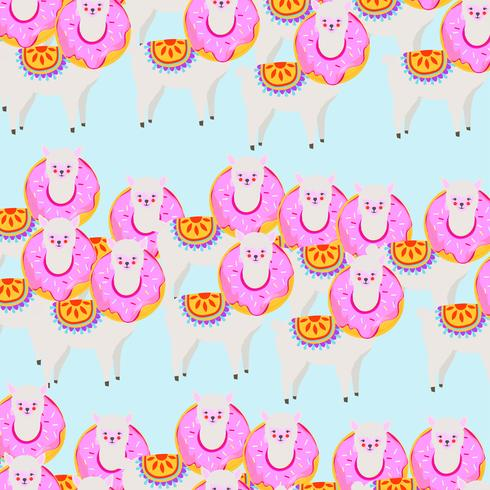 Colorful llama or alpaca with donut seamless pattern background