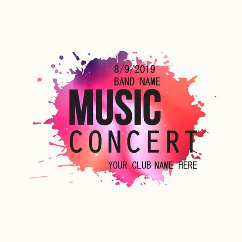 Music concert poster, paint splatter party flyer template