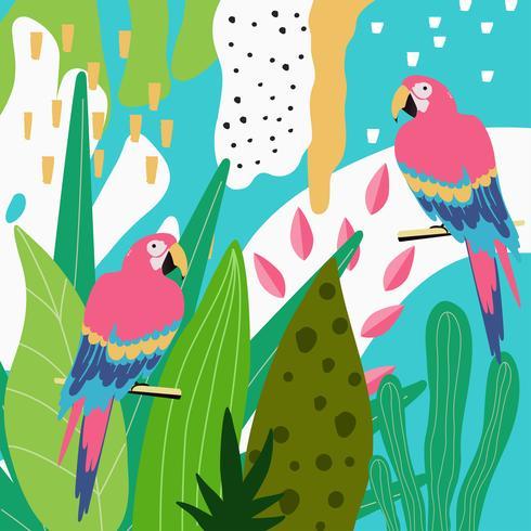 Tropische jungle verlaat achtergrond met papegaaien