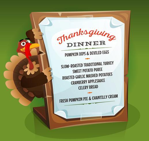 Menú de la cena de Acción de Gracias con Turquía